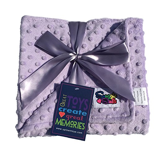 Reversible Unisex Children's Soft Baby Blanket Minky Dot (Choose Color) (Lavender)