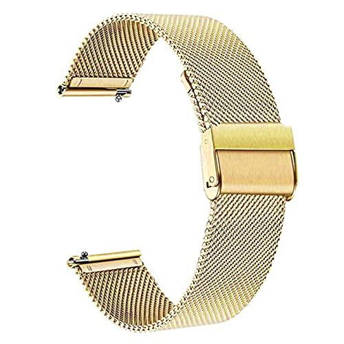 CGGA Correa de metal de 18 mm para Fossil Gen 4 Q Venture HR/Gen 3 Q Venture Smartwatch Pulsera para mujer Ticwatch C2 oro rosa (color de la correa: oro, ancho de la correa: 18 mm)