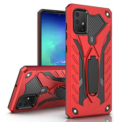 MILAN NICE Samsung Galaxy A51 Hülle Stoßfeste Kratzfeste Schutzhülle TPU+PC Silikonhülle mit Ständer Bumper Case Cover Mittlere Dicke Ritter Serie Handyhülle (Rot)