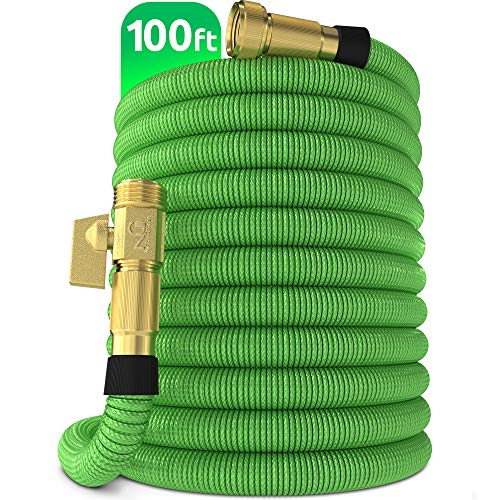 Nifty Grower 100ft Garden Hose - New Expandable Water Hose with Double Latex Core 3/4' Solid Brass Fittings Extra Strength Fabric - Flexible Expanding Hose with Storage Bag for Easy Carry