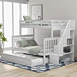 P PURLOVE Twin-Over-Full Bunk Bed Wood Bunk Bed with Twin Size Trundle, Side Storage for Bedroom, Dorm, for Kids, Adults