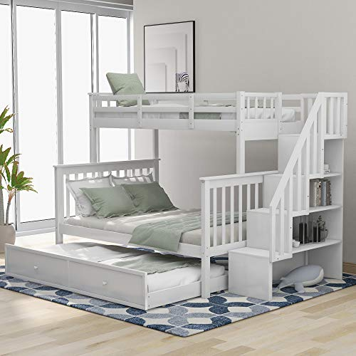 Stairway Twin-Over-Full Bunk Bed with Twin Size Trundle, Storage and Guard Rail for Adults, for Bedroom, Dorm, White Color