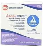 Dynarex Sensilance Safety Lancets, 28 Gauge, Sterile, 100 Count