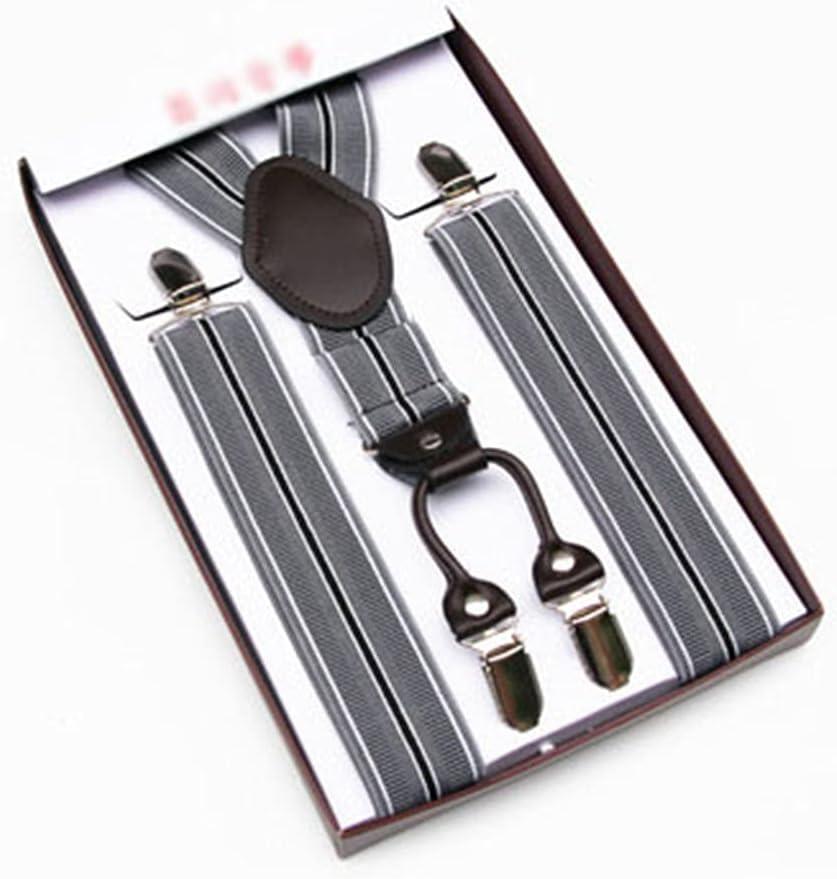 YFQHDD Men's Suspenders, Men's Suspenders, Trousers, Suspenders, Elastic Shoulder Straps, Business (Color : D, Size : Adjustable)