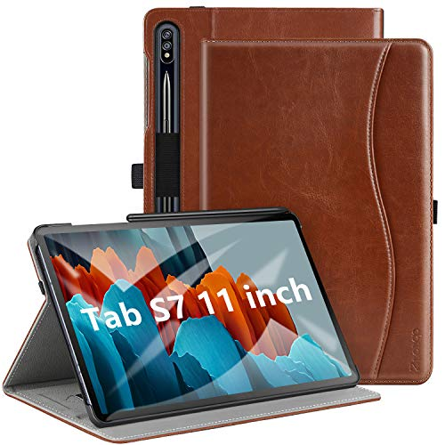 ZtotopCase Case for Samsung Galaxy Tab S7 11 Inch 2020, Premium PU Leather Folio Case Cover,Multi-angle,with Pocket and Auto Wake/Sleep Function for Samsung Galaxy Tablet S7,Brown