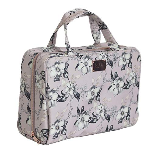 Nicole Miller Makeup Bag, Travel and Toiletry Bag, Large Cosmetic Bag with Zippered, Transparent Pockets and Handles, Foldable Makeup Bag for Home and Travel (Pale Pink Flower Print)