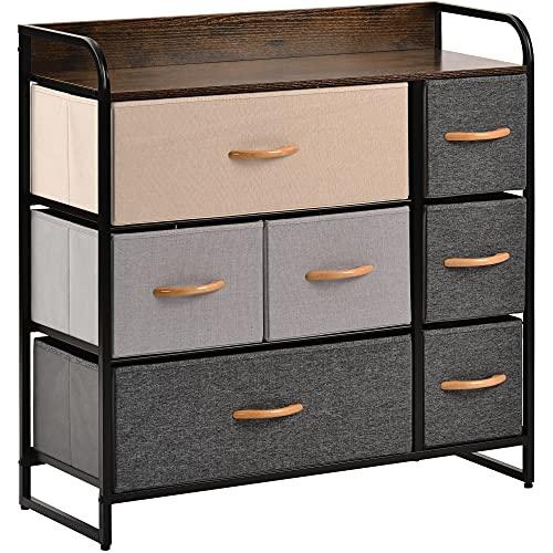 Kommode mit 7 Schubladen, Stoffkommode mit Holzplatte, Griff aus Eiche, Metallrahmen und verstellbaren Füßen, Organisationseinheit für Schlafzimmer, Wohnzimmer, Flur, 80 x 29 x 79 cm, mehrfarbig