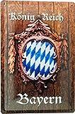 Tin Sign Blechschild 20x30 Königreich Bayern Holz Schnitzerei Rauten Flagge Weiß & Blau Franken Pfalz Schwaben