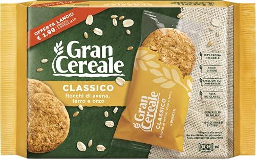 Gran Cereale Classico, Biscotti Integrali con Fiocchi di Avena, Farro e Orzo, Confezione 216 g con 6 Monoporzioni da 4 Biscotti