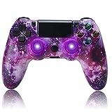 QLOVE Mando Inalámbrico para PS4, Controller Joystick con Vibración Doble Remoto/6-Axis Gyro, Gamepad Wireless Bluetooth Controlador, Mando para Playstation 4/Pro/Slim,Purple Sky