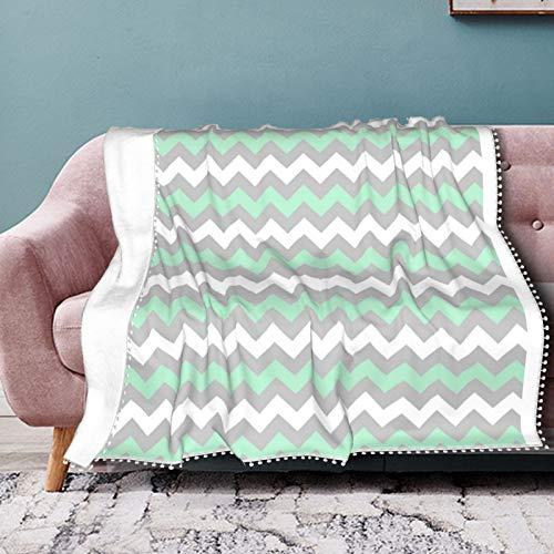 Hustor Weiche Flanell-Fleecedecke mit Zickzack-Muster, Mintgrün, Grau und Weiß, für Couch, Bett, Sofa, Stuhl, Büro,...