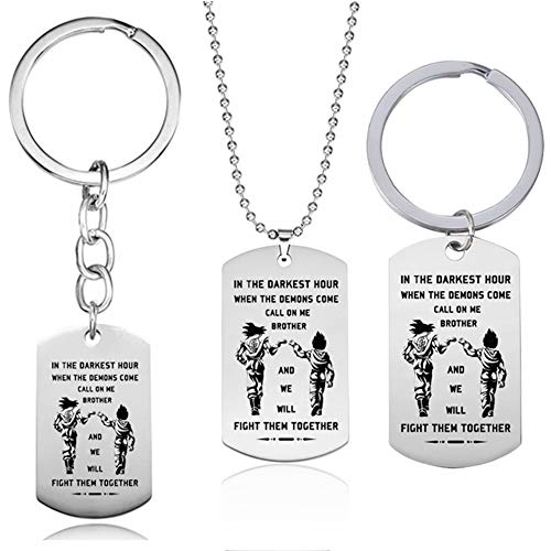 Japanese Anime Dragon Ball Vegeta Sun Wukong Pendant Necklace Stainless Steel Zinc Alloy Protection Keychain 3 PCS
