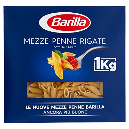 Barilla Pasta Mezze Penne Rigate, Pasta Corta di Semola di Grano Duro, I Classici - 1 kg