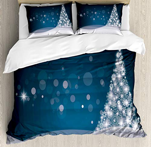 Ambesonne Christmas Duvet Cover Set, Fantasy Backdrop Abstract Xmas Tree Dreamlike Snowflakes Dots Wintertime, Decorative 3 Piece Bedding Set with 2 Pillow Shams, Queen Size, Blue White