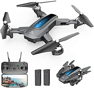 DEERC D10 Foldable Drone with Camera for Adults 720P HD FPV Live Video, Tap Fly, Gesture Control, Selfie, Altitude Hold, Headless Mode, 3D Flips, Quadcopter for Kids Beginners with 2 Batteries 24mins from Deerc