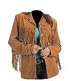 Classyak Women's Fashion Stylish Suede Leather Fringed Jacket Brown Large