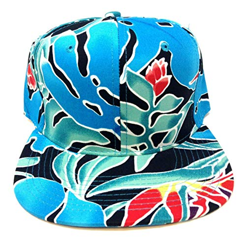 August Caps Blue Coral Birds of Paradise Hawaiian All Over Floral Print Snapback