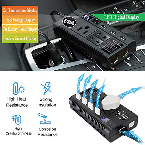 Car Power Inverter 120W DC 12V 24V to AC 110V Car Charger Adapter with 3 AC Outlets Dual Cigarette Lighter 4 USB Ports Charger Quick Charging 3.0 for Phones Tablets Laptops Kindle (Black)