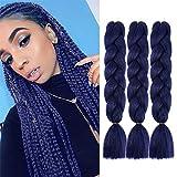 VOKEYLA Dark Blue Braiding Hair Jumbo Braid Hair Extensions for Twist Braids 3 Pack Kanekalon Braiding Hair for Box Braids 24inch High Temperature Synthetic Fiber for Women (Color:Ink Blue)