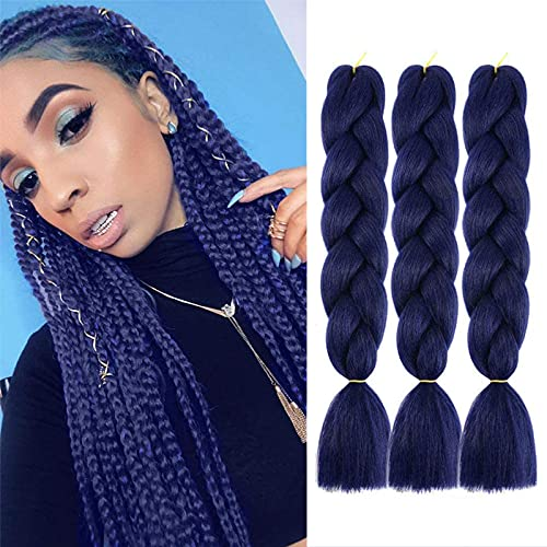 Navy blue braiding hair