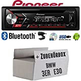 Autoradio Radio Pioneer DEH-S3000BT - Bluetooth | CD | MP3 | USB | Android Einbauzubehör - Einbauset für BMW 3er E30 - JUST SOUND best choice for caraudio