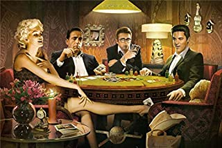 lihuaiart-James Dean,Marilyn Monroe,Elvis Presley,Humphrey Bogart,2 Sizes,Art Home Wall Decorations for Bedroom Living Room Oil Paintings Canvas Prints-586 (Framed,16x24inch)