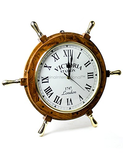 Nagina International 18' Elegant Handcrafted Nautical Ship Wheel Roman Dial Time's Wall Clock with Polished Solid Brass Handles   Ship's Steering Wheel Decor Clock   Maritime Gifts