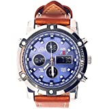 Joseph James 50mm Luxury Water Resistant Leather Watch (Brown/Blue)