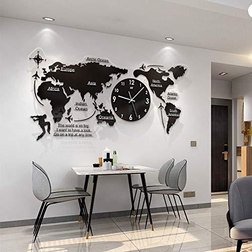 FCX-CLOCKUHR 3D Acryl Weltkarte mit Uhren Set - Wohnzimmer verzierte Moderne Wanduhr - Schwarz 120x55 cm MDF Weltzeituhren Wanduhren Schilder Kontinente Länder Wanddeko Wall-Art