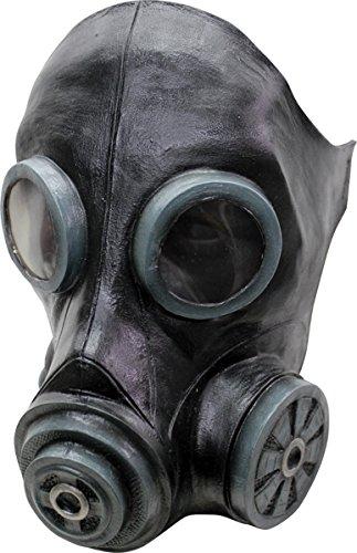 Mask Head Gas Smoke Mask Black Gruselige Gasmaske Kostümaccessoire schwarz Einheitsgröße