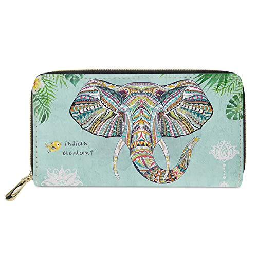 chaqlin Travel Leather Wallet India Elephant Printed High Capacity Stylish...