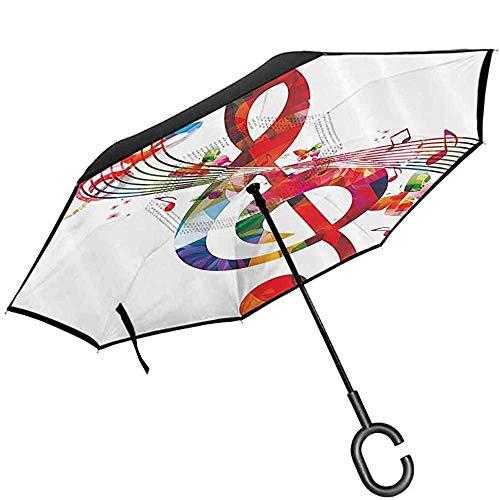 ETGeed Regenschirm, faltende Musik-Dekor-Grafik mit Musiknoten-Rhythmus-Lied-dekorativer vibrierender Farbphantasie