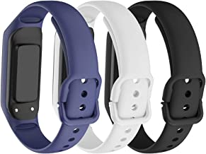 ANCOOL Compatible with Samsung Galaxy Fit E Band,Soft Silicone Strap Replacement Sport Wristband for Samsung Galaxy Fit E MIL-STD-810G Fitness Smartwatch -(Dark Blue/White/Black)