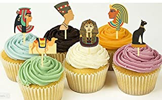 12 Egypt Pyramids Toga Party Cupcake Toppers Food Picks