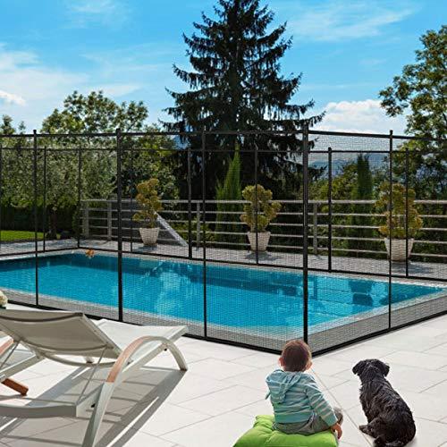 GOPLUS Poolzaun Kindersicher, Schutzzaun Garten, Zaunsichtschutz Faltbar, Teichzaun für Pool Schwimmbad, 366 x 122 cm, Schwarz
