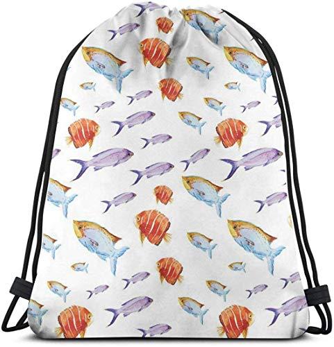 Kordelzug-Rucksack-Unisextasche für das Turnhallen-Reisen, Unterwasserleben-themenorientierte Kunst mit tropischem Goldfisch und Kerel in den Pastellaquarellen