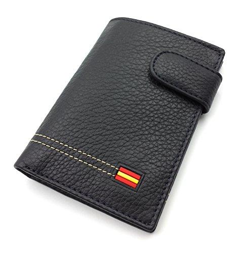 franartPiel - Cartera, billetera, tarjetero, monedero vertical Piel Ubrique con bandera de España y cierre de trabilla modelo grande - Alta Calidad - Azul Marino