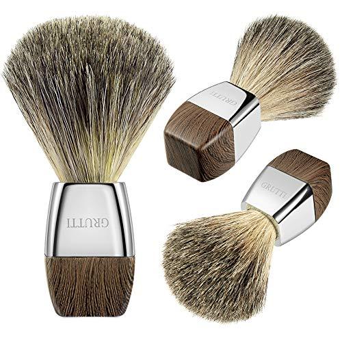 Pennello da barba GRUTTI, Pennello da barba al 100% puro tasso per barba da uomo Idee regalo da barba- Imitazione venatura del legno (Salute e Bellezza)