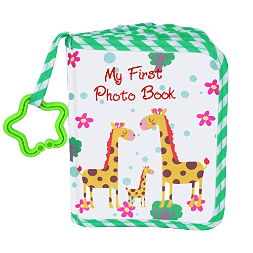 VNOM Baby Photo Album Soft Cloth Photo Book First Year Memory Album Shower Gift for Babies Newborns Toddlers & Kids,Holds 4x6 Inch Photos,Green