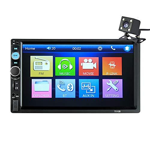 7 in dubbele 2 DIN In-Stich Auto Stereo ontvanger AM/FM Radio Video Multimedia MP5 speler met Bluetooth USB WiFi Spiegel Link GPS voor iPhone en Android (geen CD/DVD) (met achteruitrijcamera)