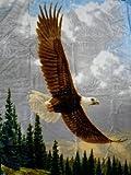 Natur-Fell-Shop Kuscheldecke Tagesdecke Decke Motiv Adler/Seeadler 160x200cm