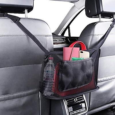 Finphoon Car Net Pocket Handbag Holder Between Seats,Upgrade-Black Handbag Holder for Car,Used to Store Wallets and Document Bags