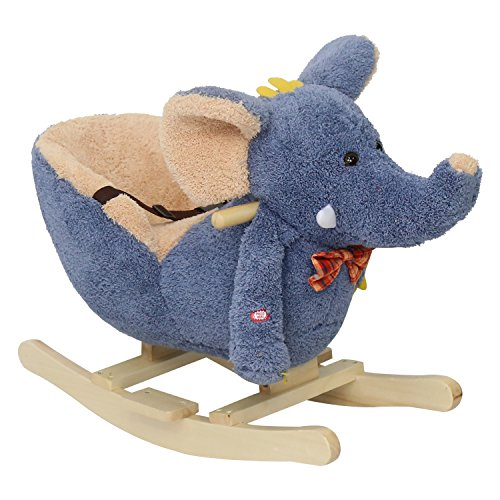 Peach Tree Baby Elephant Rockers Kids Toy Plush Rocking Horse Ride On Pony Riding Rocker with Sound Girls, Grey
