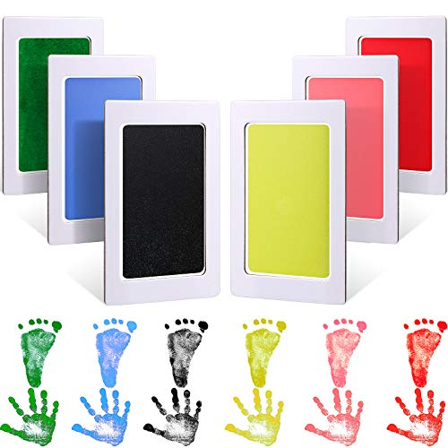6 Packs Baby Inkless Pads Kits Handprint and Footprint Colorful Ink Pad and 12 Imprint Cards for Family Baby Shower Registry