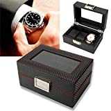 Watch Box 3 Slots PU Leather Case Organizer Travel Watch Display Storage Box Case Organizer with Lock Removable Watch Pillow for Storage and Display Men's Wome's Gift Business