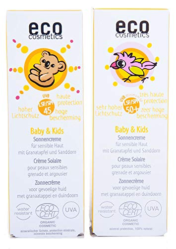 ECO cosmetics Baby & Kids Sonnencreme 50 ml LSF 45 und LSF 50+ im Set