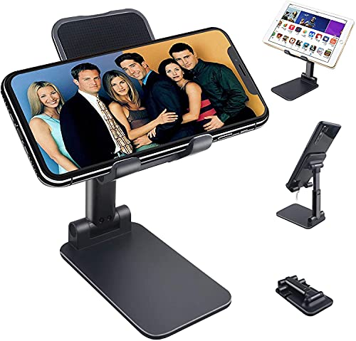 Foldable Mobile Stand Holder – [2021 Updated] Angle & Height Adjustable Desk Cell Phone Holder Anti-Slip Compatible with Smartphones/ i Pad Mini/Game/Kindle/Tablet(4-10″) (Black)