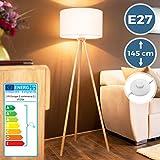 Tripod Stehlampe - EEK A++ bis E, Höhe 145cm, Ø45cm, E27, Stativ aus Holz, Stoffschirm, Skandinavischen Stil - Dreibein Stehleuchte, Wohnzimmerlampe, Dreifuß Standleuchte für Wohnzimmer, Schlafzimmer