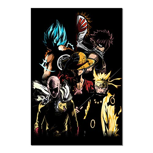 Anime Naruto Poster One Piece Luffy One Punch Man Print on Canvas Wall Picture for Living Room Decor (Unframed, ONE PUNCH-MAN)
