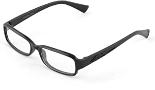 uxcell Plastic Rectangle Lens Unisex Full Frame Eyewear Plain Glass Black Clear